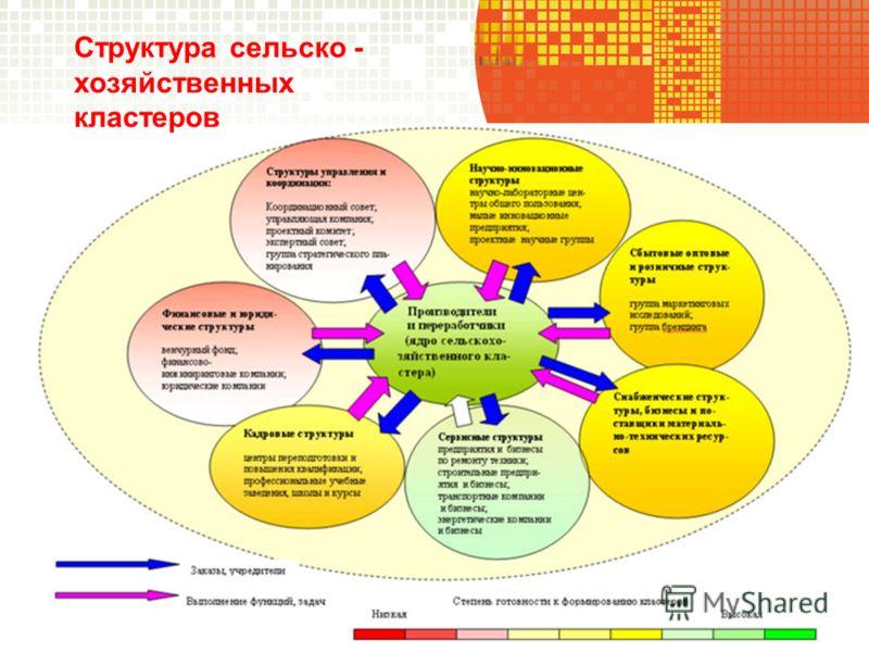 Структура сельско - хозяйственных кластеров