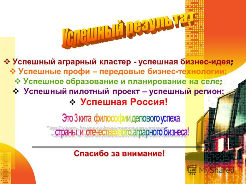 Успешный аграрный кластер - успешная бизнес - идея ; Успешные профи – передовые бизнес - технологии; Успешное образование и планирование на селе ; Успешный пилотный проект – успешный регион; Успешная Россия! __________________________________________