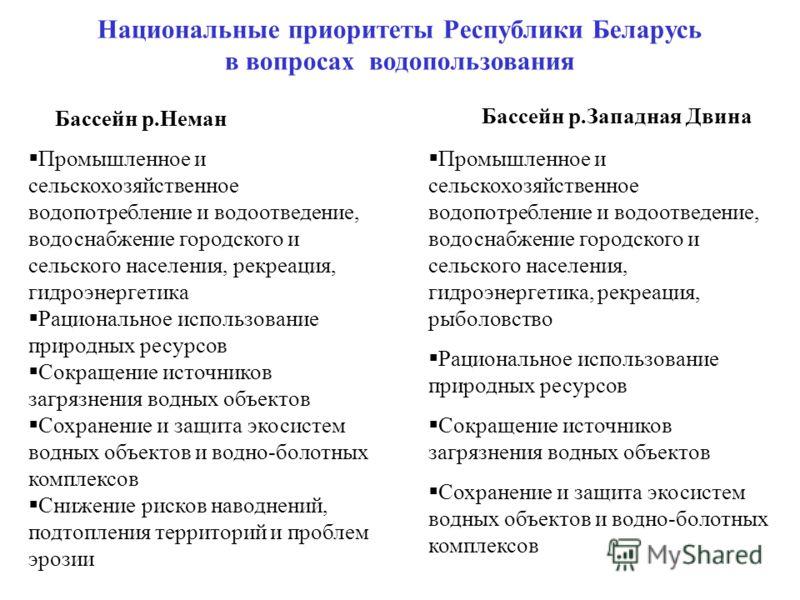 Национальные приоритеты Республики Беларусь в вопросах водопользования Промышленное и сельскохозяйственное водопотребление и водоотведение, водоснабжение городского и сельского населения, рекреация, гидроэнергетика Рациональное использование природны