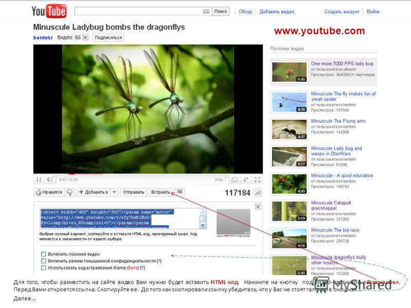 Для того, чтобы разместить на сайте видео Вам нужно будет вставить HTML-код. Нажмите на кнопку под видео-картинкой «Встроить». Перед Вами откроется ссылка. Скопируйте ее. До того как скопировали ссылку убедитесь, что у Вас не стоят галочки в окошках…
