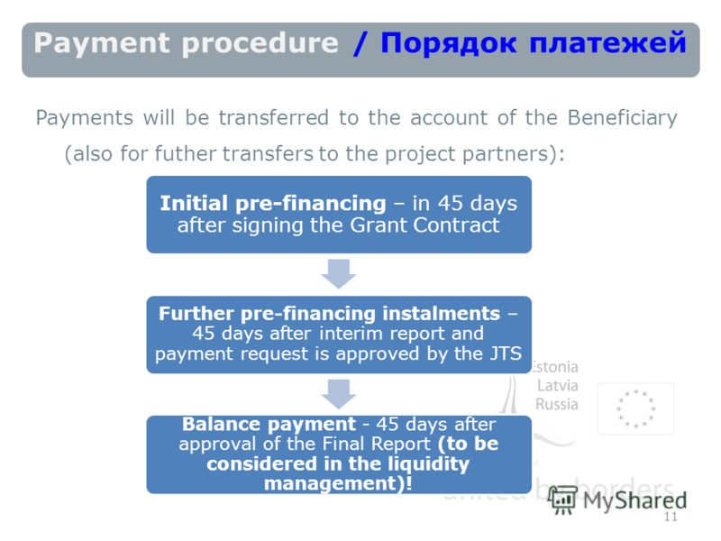 Payment procedure / Порядок платежей Payments will be transferred to the account of the Beneficiary (also for futher transfers to the project partners): 11 Initial pre-financing – in 45 days after signing the Grant Contract Further pre-financing inst