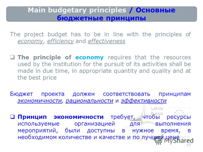 Main budgetary principles / Основные бюджетные принципы The project budget has to be in line with the principles of economy, efficiency and effectiveness The principle of economy requires that the resources used by the institution for the pursuit of