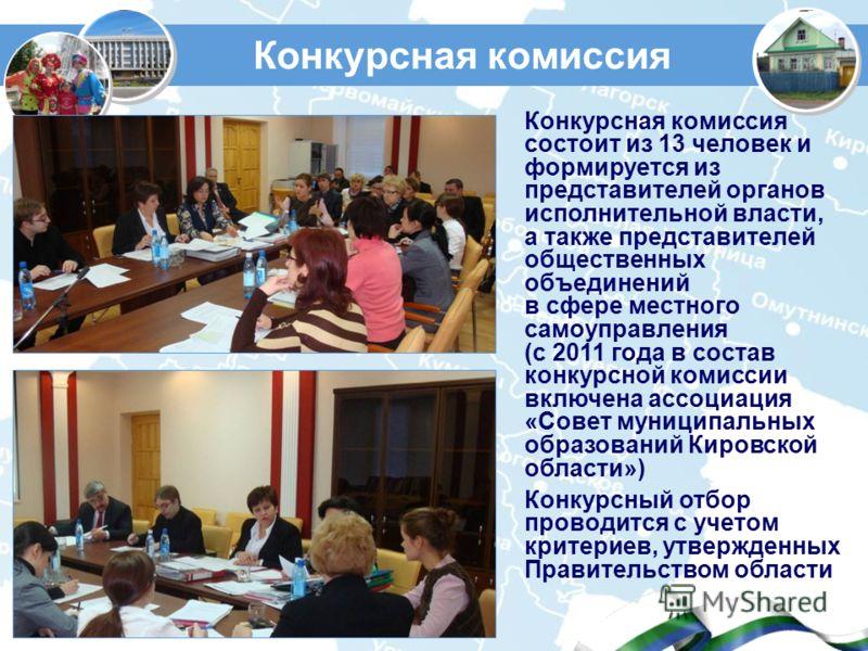 Конкурсная комиссия Конкурсная комиссия состоит из 13 человек и формируется из представителей органов исполнительной власти, а также представителей общественных объединений в сфере местного самоуправления (с 2011 года в состав конкурсной комиссии вкл