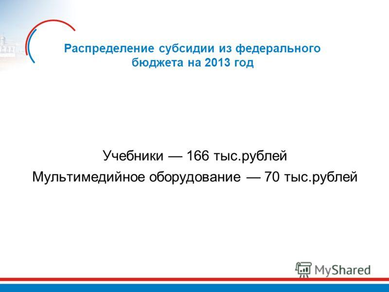 Распределение субсидии из федерального бюджета на 2013 год Учебники 166 тыс.рублей Мультимедийное оборудование 70 тыс.рублей