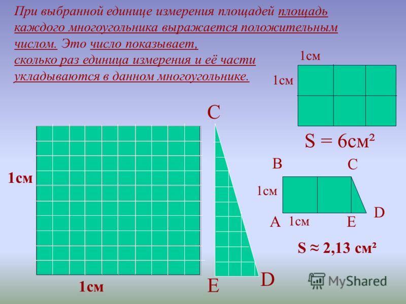 Можно сказать, что площадь многоугольника – это величина той части плоскости, которую занимает многоугольник. Измерение площадей проводится с помощью выбранной единицы измерения аналогично измерению длин отрезков. За единицу измерения площадей приним