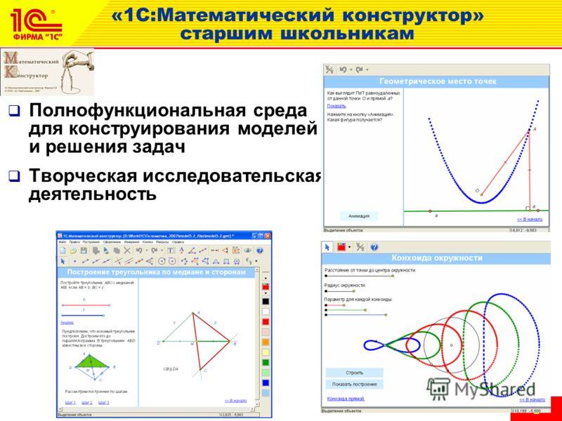 6 «1С:Математический конструктор» старшим школьникам Полнофункциональная среда для конструирования моделей и решения задач Творческая исследовательская деятельность