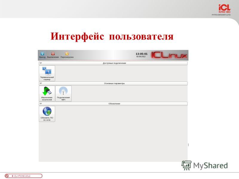 © ICL-КПО ВС 2012 Интерфейс пользователя