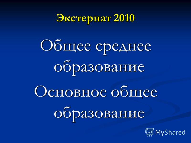 Экстернат 2010 Общее среднее образование Основное общее образование
