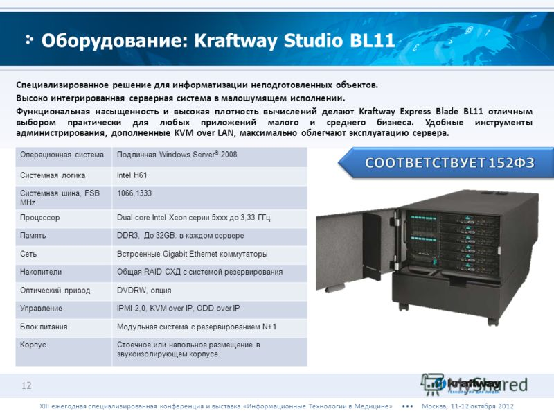 Специализированное решение для информатизации неподготовленных объектов. Высоко интегрированная серверная система в малошумящем исполнении. Функциональная насыщенность и высокая плотность вычислений делают Kraftway Express Blade BL11 отличным выбором