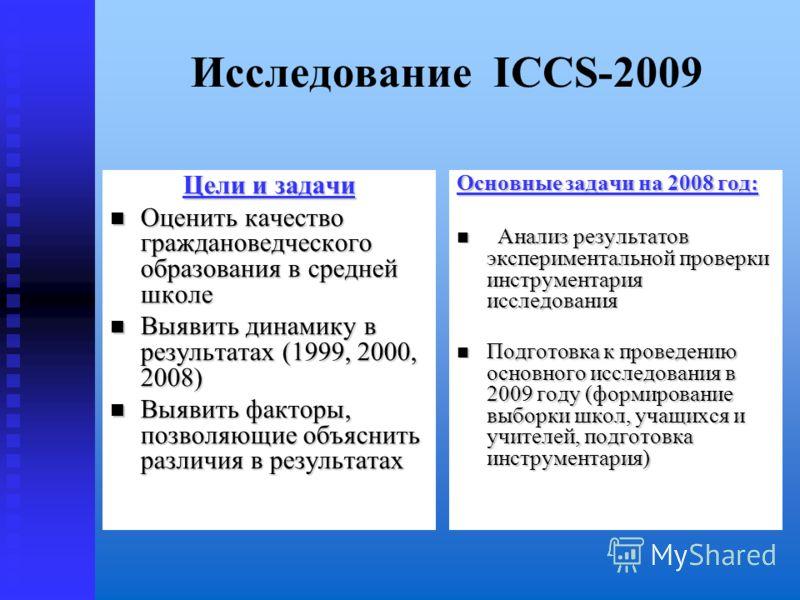 Исследование ICCS-2009 Цели и задачи Оценить качество граждановедческого образования в средней школе Оценить качество граждановедческого образования в средней школе Выявить динамику в результатах (1999, 2000, 2008) Выявить динамику в результатах (199
