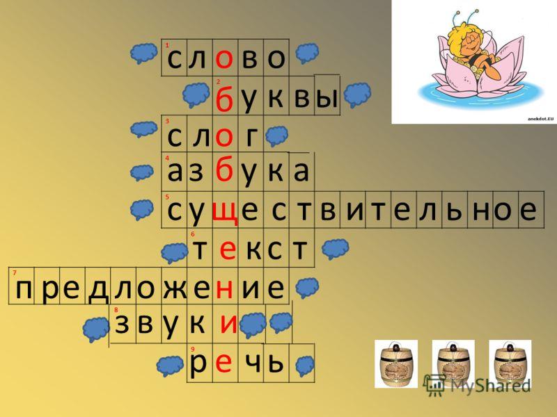 1 2 3 4 5 6 7 8 9 слово б уквы слог азбука существительное текст предложение звуки речь