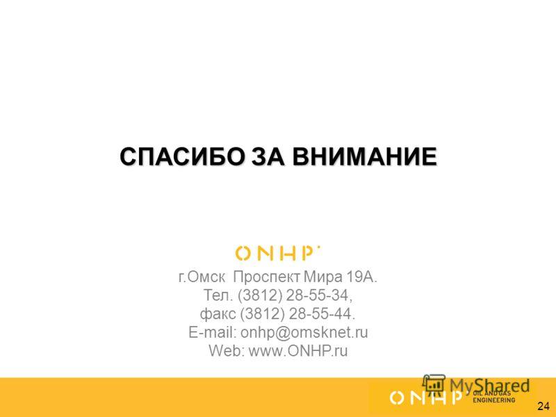 24 СПАСИБО ЗА ВНИМАНИЕ г.Омск Проспект Мира 19А. Тел. (3812) 28-55-34, факс (3812) 28-55-44. E-mail: onhp@omsknet.ru Web: www.ONHP.ru