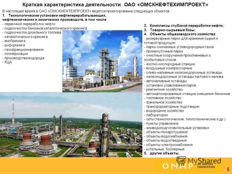 5 Омск (Центральный офис) Астана Москва В настоящее время в ОАО «ОМСКНЕФТЕХПРОЕКТ» ведется проектирование следующих объектов: 1.Технологические установки нефтеперерабатывающих, нефтехимических и химических производств, в том числе: - первичной перера