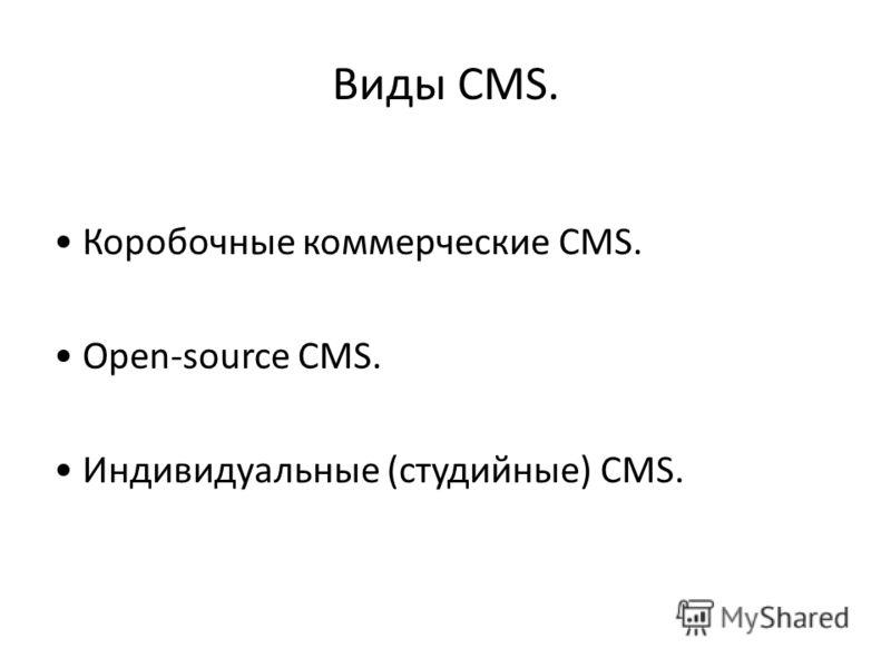 Виды CMS. Коробочные коммерческие CMS. Open-source CMS. Индивидуальные (студийные) CMS.