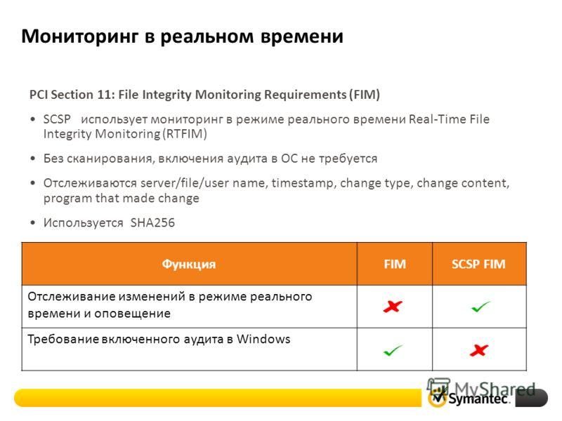 PCI Section 11: File Integrity Monitoring Requirements (FIM) SCSP использует мониторинг в режиме реального времени Real-Time File Integrity Monitoring (RTFIM) Без сканирования, включения аудита в ОС не требуется Отслеживаются server/file/user name, t