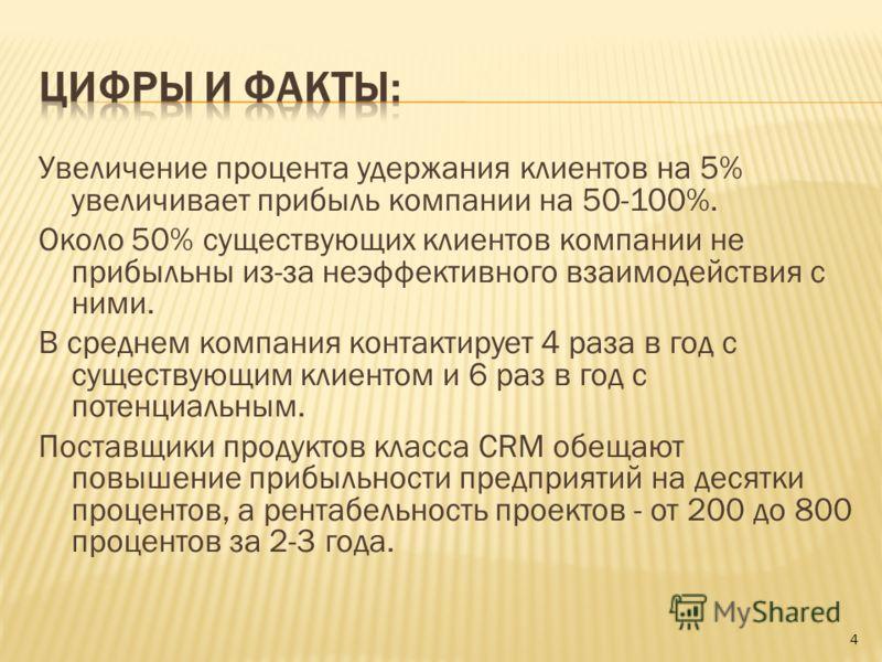 Увеличение процента удержания клиентов на 5% увеличивает прибыль компании на 50-100%. Около 50% существующих клиентов компании не прибыльны из-за неэффективного взаимодействия с ними. В среднем компания контактирует 4 раза в год с существующим клиент