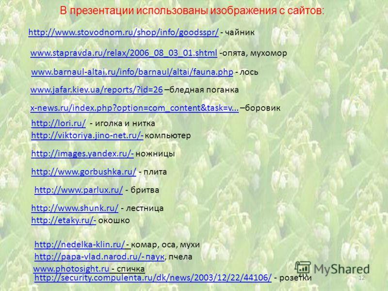 В презентации использованы изображения с сайтов: 12 www.stapravda.ru/relax/2006_08_03_01.shtml -опята, мухоморwww.stapravda.ru/relax/2006_08_03_01.shtml www.barnaul-altai.ru/info/barnaul/altai/fauna.phpwww.barnaul-altai.ru/info/barnaul/altai/fauna.ph