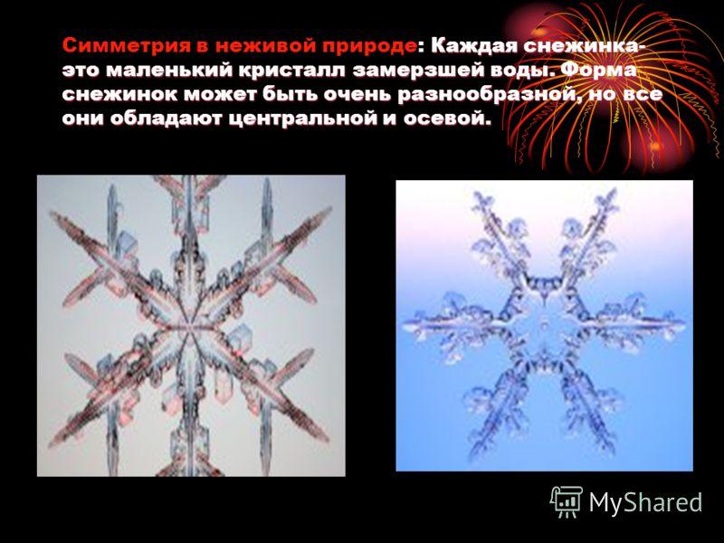 Каждая снежинка- это маленький кристалл замерзшей воды. Форма снежинок может быть очень разнообразной, но все они обладают центральной и осевой. Симметрия в неживой природе: Каждая снежинка- это маленький кристалл замерзшей воды. Форма снежинок может