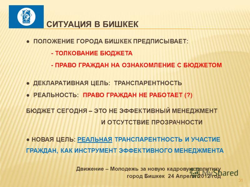 31 Движение – Молодежь за новую кадровую политику город Бишкек 24 Апреля 2012 год