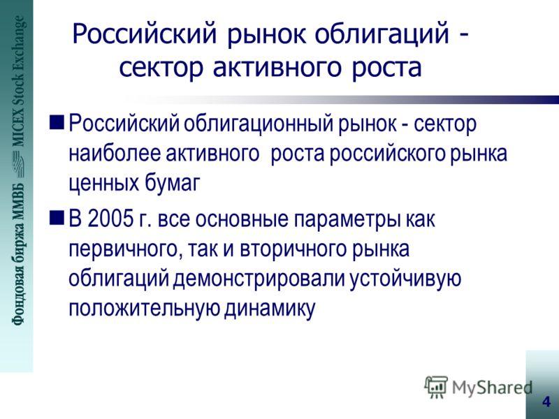 4 Российский рынок облигаций - сектор активного роста nРоссийский облигационный рынок - сектор наиболее активного роста российского рынка ценных бумаг nВ 2005 г. все основные параметры как первичного, так и вторичного рынка облигаций демонстрировали