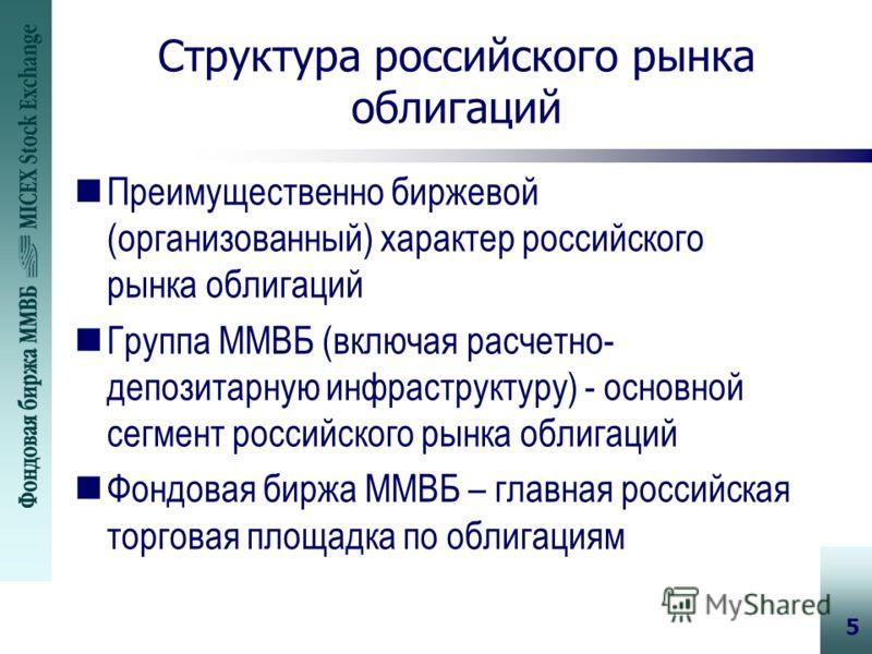 5 Структура российского рынка облигаций nПреимущественно биржевой (организованный) характер российского рынка облигаций nГруппа ММВБ (включая расчетно- депозитарную инфраструктуру) - основной сегмент российского рынка облигаций nФондовая биржа ММВБ –