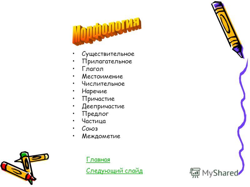 Существительное Прилагательное Глагол Местоимение Числительное Наречие Причастие Деепричастие Предлог Частица Союз Междометие Главная Следующий слайд