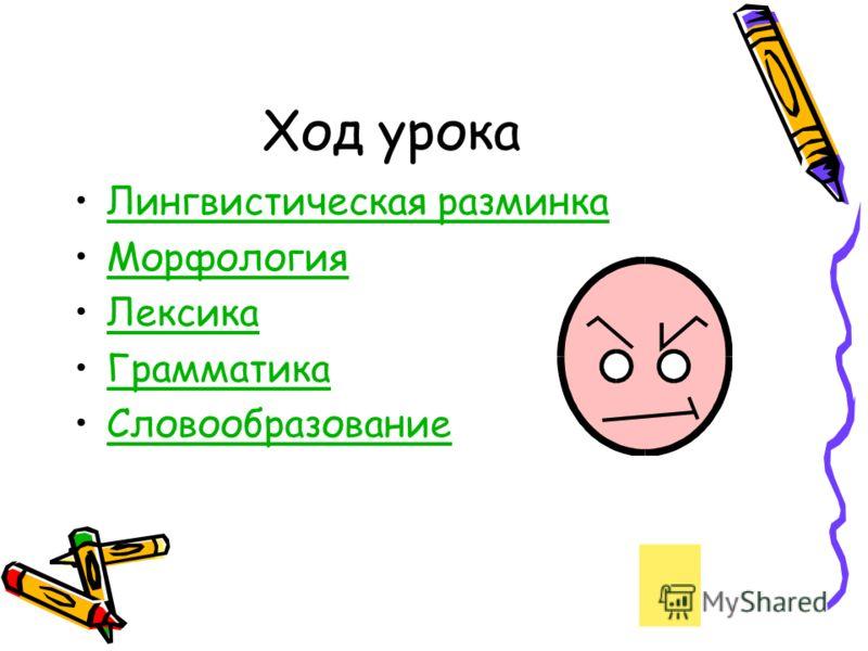 Ход урока Лингвистическая разминка Морфология Лексика Грамматика Словообразование