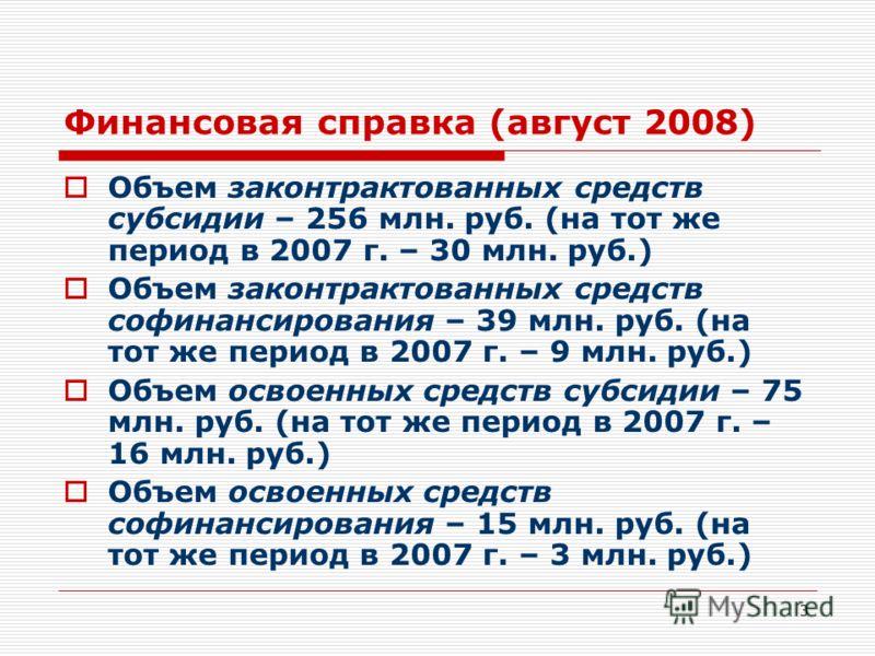 3 Финансовая справка (август 2008) Объем законтрактованных средств субсидии – 256 млн. руб. (на тот же период в 2007 г. – 30 млн. руб.) Объем законтрактованных средств софинансирования – 39 млн. руб. (на тот же период в 2007 г. – 9 млн. руб.) Объем о