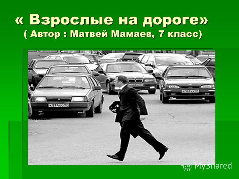 « Взрослые на дороге» ( Автор : Матвей Мамаев, 7 класс)