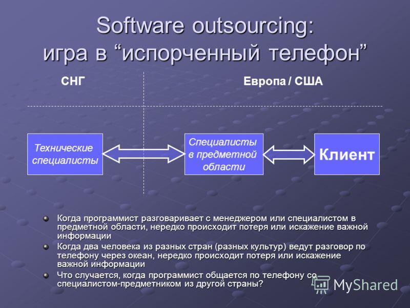 Software outsourcing: игра в испорченный телефон СНГЕвропа / США Технические специалисты Специалисты в предметной области Клиент Когда программист разговаривает с менеджером или специалистом в предметной области, нередко происходит потеря или искажен