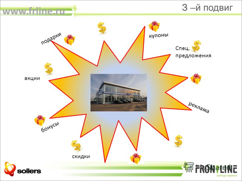 акции скидки бонусы реклама купоны Спец. предложения подарки З –й подвиг www.frline.ru