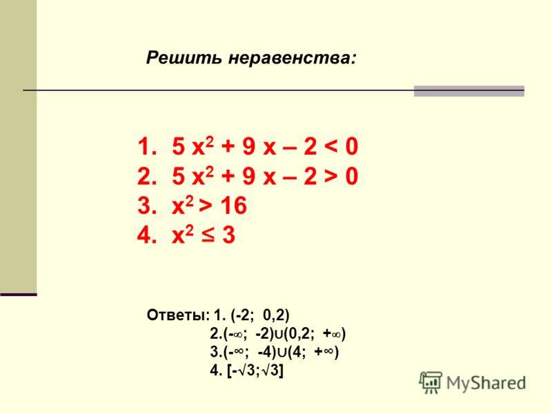 Решить неравенства: 1. 5 x 2 + 9 x – 2 < 0 2. 5 x 2 + 9 x – 2 > 0 3. х 2 > 16 4. х 2 3 Ответы: 1. (-2; 0,2) 2.(-; -2) (0,2; +) 3.(-; -4) (4; +) 4. [-3;3]