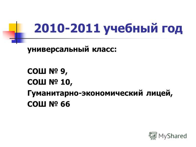 2010-2011 учебный год универсальный класс: СОШ 9, СОШ 10, Гуманитарно-экономический лицей, СОШ 66