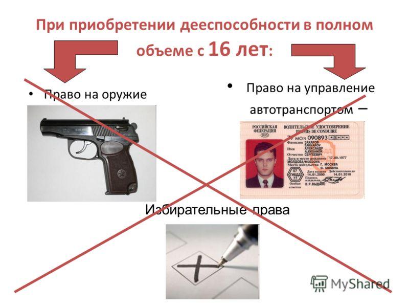 Право на оружие При приобретении дееспособности в полном объеме с 16 лет : Право на управление автотранспортом – Избирательные права