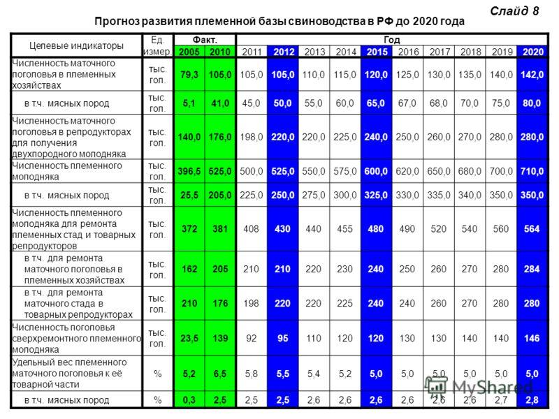 Прогноз развития племенной базы свиноводства в РФ до 2020 года Целевые индикаторы Ед.Факт.Год измер. 200520102011201220132014201520162017201820192020 Численность маточного поголовья в племенных хозяйствах тыс. гол. 79,3105,0 110,0115,0120,0125,0130,0