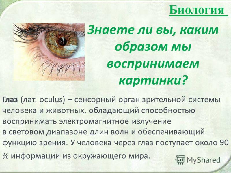 Биология Знаете ли вы, каким образом мы воспринимаем картинки? Глаз (лат. oculus) – сенсорный орган зрительной системы человека и животных, обладающий способностью воспринимать электромагнитное излучение в световом диапазоне длин волн и обеспечивающи