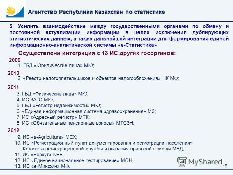 Агентство Республики Казахстан по статистике 1515 5. Усилить взаимодействие между государственными органами по обмену и постоянной актуализации информации в целях исключения дублирующих статистических данных, а также дальнейшей интеграции для формиро