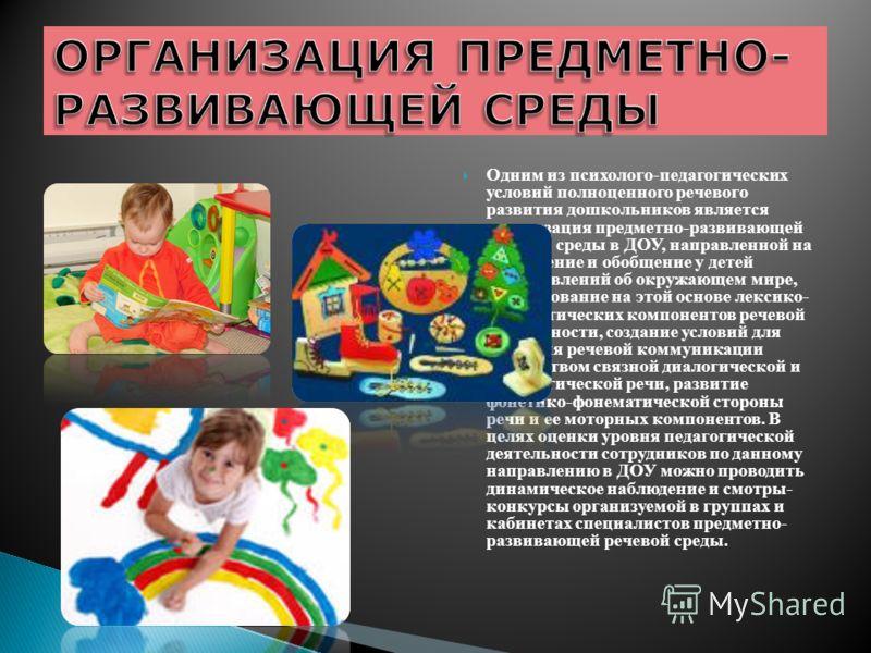 Одним из психолого-педагогических условий полноценного речевого развития дошкольников является организация предметно-развивающей речевой среды в ДОУ, направленной на обогащение и обобщение у детей представлений об окружающем мире, формирование на это
