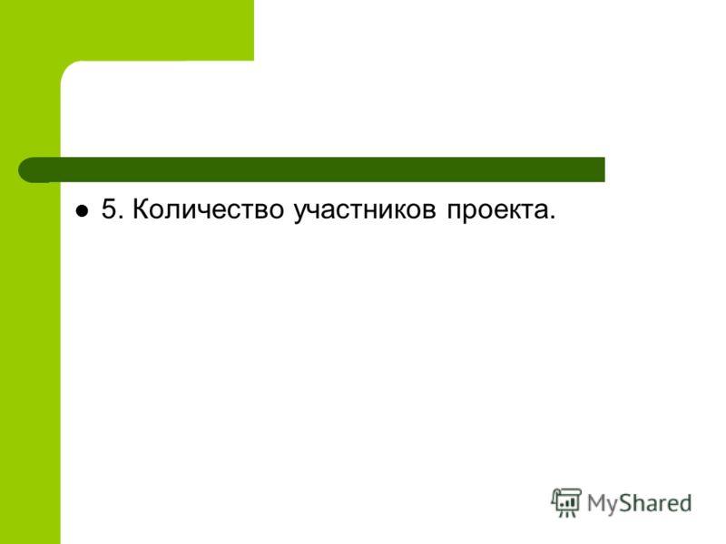 5. Количество участников проекта.