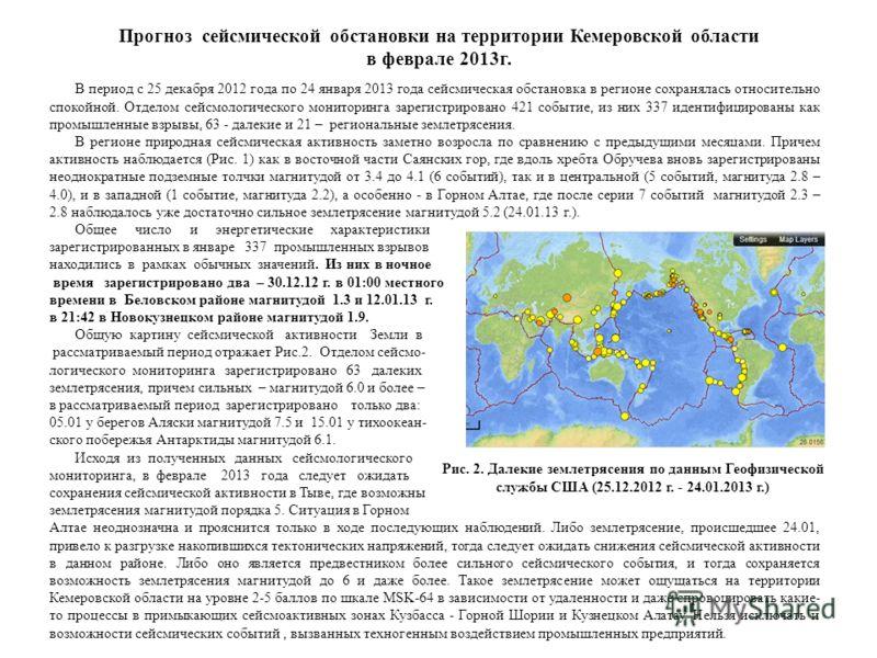 Прогноз сейсмической обстановки на территории Кемеровской области в феврале 2013г. В период с 25 декабря 2012 года по 24 января 2013 года сейсмическая обстановка в регионе сохранялась относительно спокойной. Отделом сейсмологического мониторинга заре