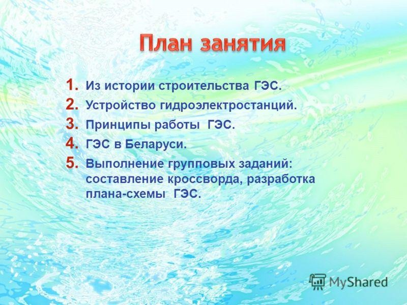 Принципы работы ГЭС. 4.