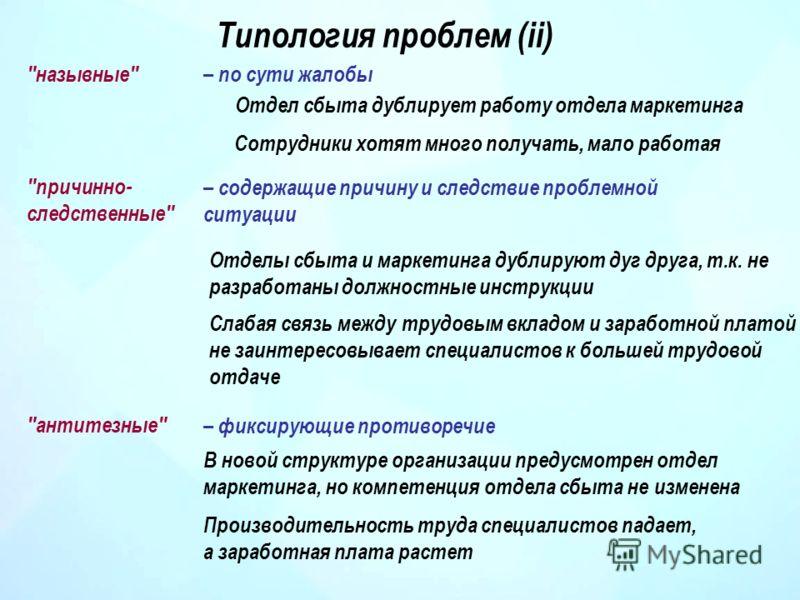 Типология проблем (ii)