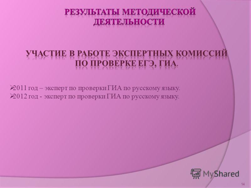 14 2011 год – эксперт по проверки ГИА по русскому языку. 2012 год - эксперт по проверки ГИА по русскому языку.