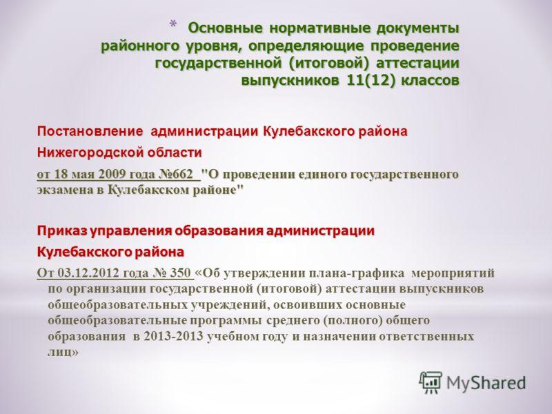 * Основные нормативные документы районного уровня, определяющие проведение государственной (итоговой) аттестации выпускников 11(12) классов Постановление администрации Кулебакского района Нижегородской области от 18 мая 2009 года 662