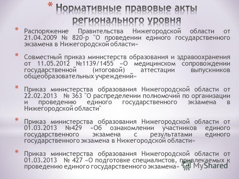 * Распоряжение Правительства Нижегородской области от 21.04.2009 820-р