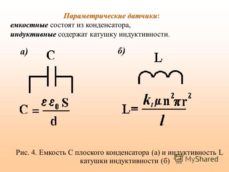 Рис. 4. Емкость C плоского конденсатора (а) и индуктивность L катушки индуктивности (б) Параметрические датчики Параметрические датчики: емкостные емкостные состоят из конденсатора, индуктивные индуктивные содержат катушку индуктивности.