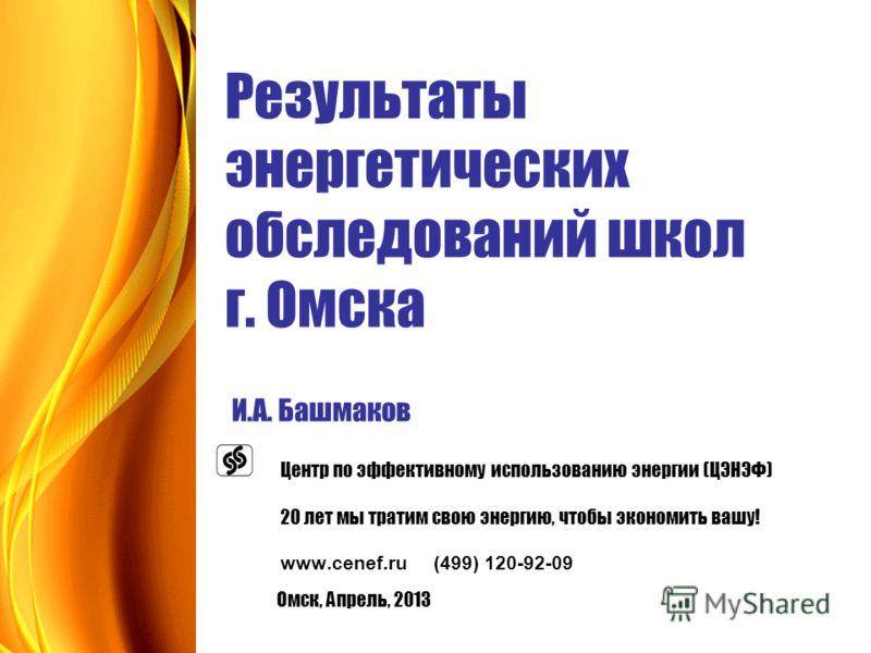 Результаты энергетических обследований школ г. Омска И.А. Башмаков Центр по эффективному использованию энергии (ЦЭНЭФ) 20 лет мы тратим свою энергию, чтобы экономить вашу! www.cenef.ru (499) 120-92-09 Омск, Апрель, 2013