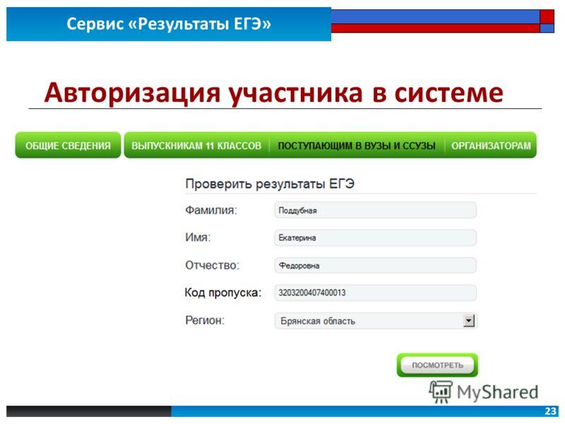 23 Сервис «Результаты ЕГЭ» Авторизация участника в системе