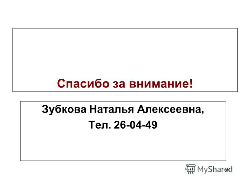 41 Спасибо за внимание! Зубкова Наталья Алексеевна, Тел. 26-04-49