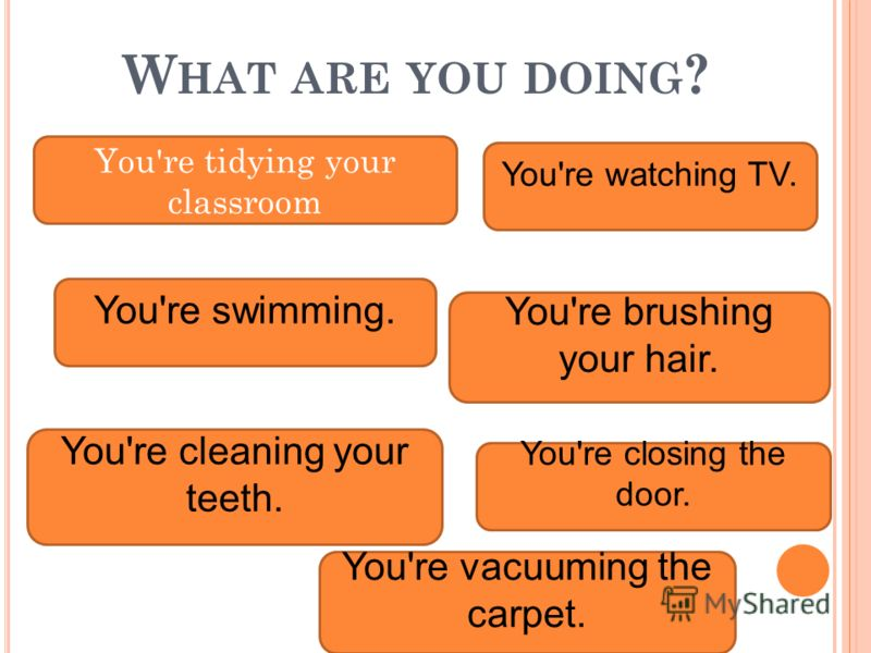 W HAT ARE YOU DOING ? You're tidying your classroom You're swimming. You're brushing your hair. You're vacuuming the carpet. You're cleaning your teeth. You're watching TV. You're closing the door.